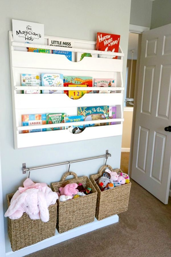 Nursery Book and Toy Storage - love these solutions for keeping them off the floor!