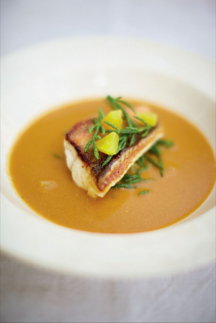 Red gurnard soup with samphire and orange recipe from British Seafood by Nathan Outlaw | Cooked.com