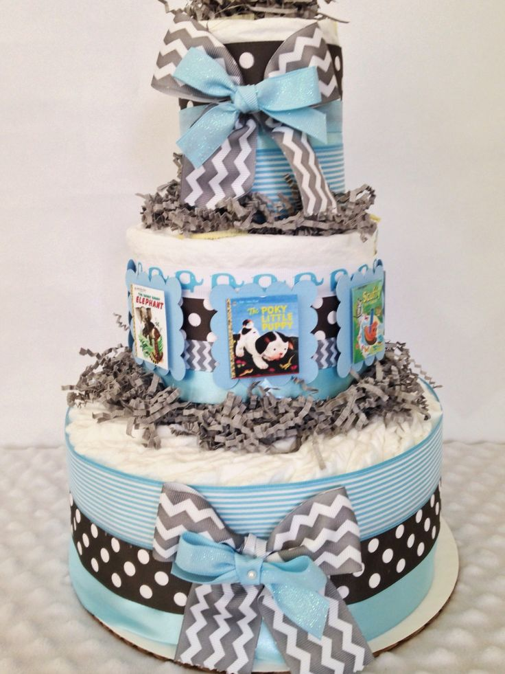 Little Golden Book Themed Diaper Cake for Boys, Baby Boy Book Theme Centerpiece by AllDiaperCakes on Etsy