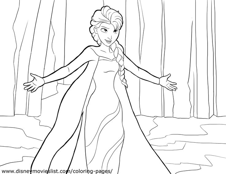 Disneys Frozen Anna And Elsa Together Coloring Page