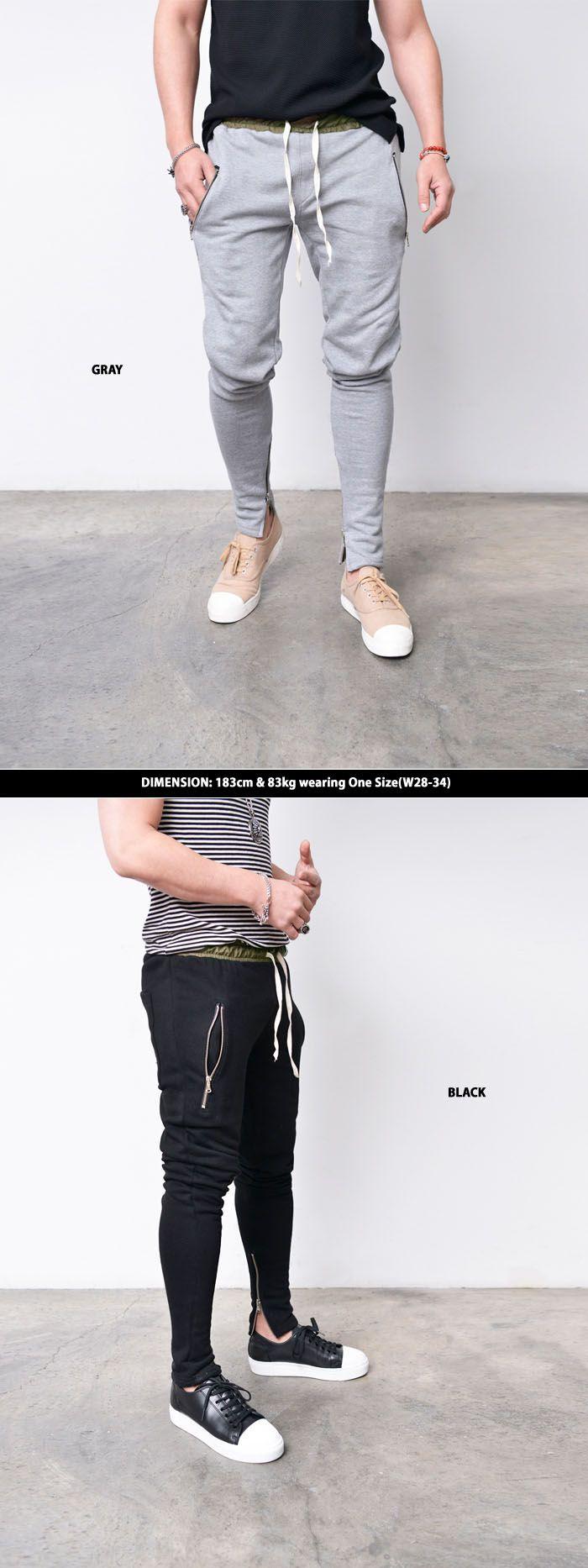 Mens Contrast Banding Zip Legs Semi Baggy-Sweatpants 271 by Guylook.com