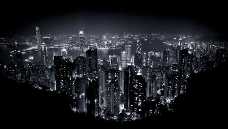 Hong Kong by Night - Monochrome shot of Hong Kong taken at night from Victoria Peak.  Conversion to Black & White in NIK Silver Efex Pro