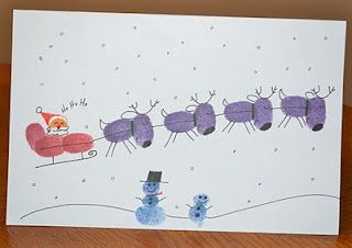 Thisis a great idea for homemade Christmas cards. All you'll need is card, stamp pads your little one's fingers and a black pen for details. The sky is the limit with designs but her…