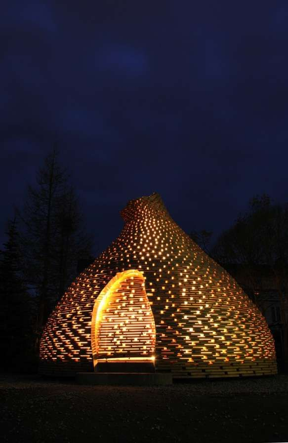 A Circular Wooden Fire Hut by Haugen Zohar Architects #architecture trendhunter.com