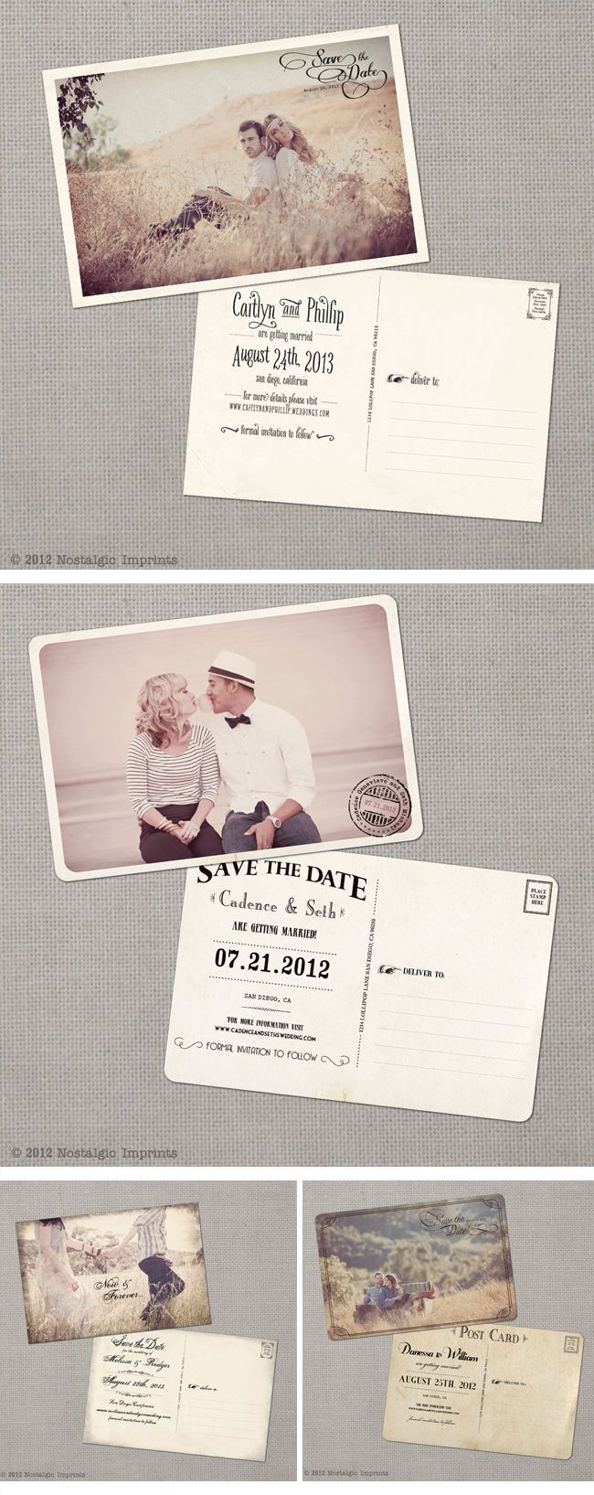 Nostalgic Imprints, Vintage-Hochzeitseinladungen, vintage wedding invitations