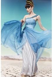 Sequinned Banded Bodice One-shoulder Flowy Long Evening Dress