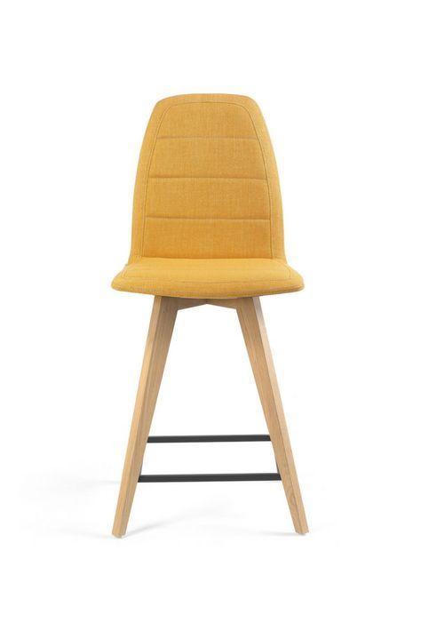 MOOD#12 H62 PB par Mobitec. Personnalisez votre cuisine avec cette chaise design à piétement bois, parfaite pour une table haute de 90 cm.