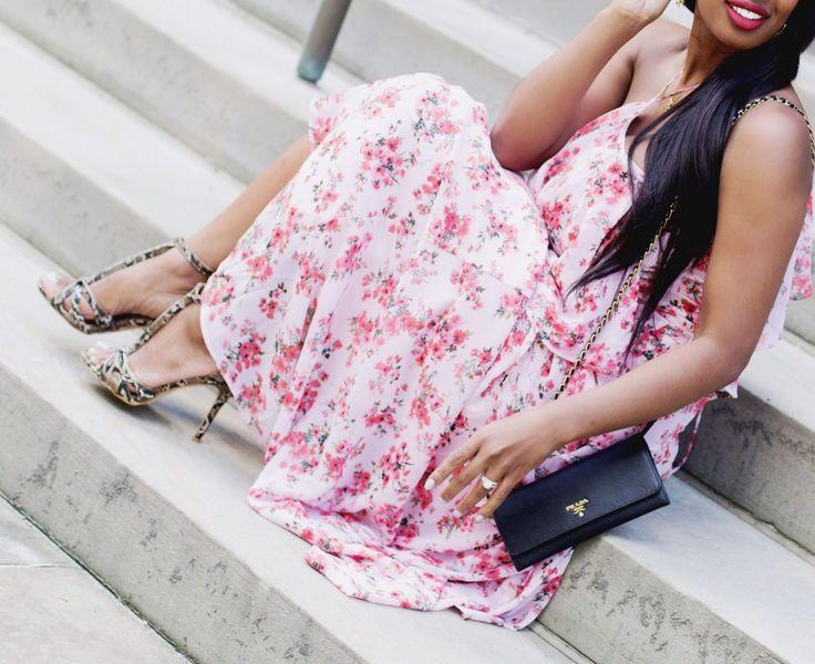 Pink Floral dress, red lipstick, snakeskin heels, black weave hairstyle