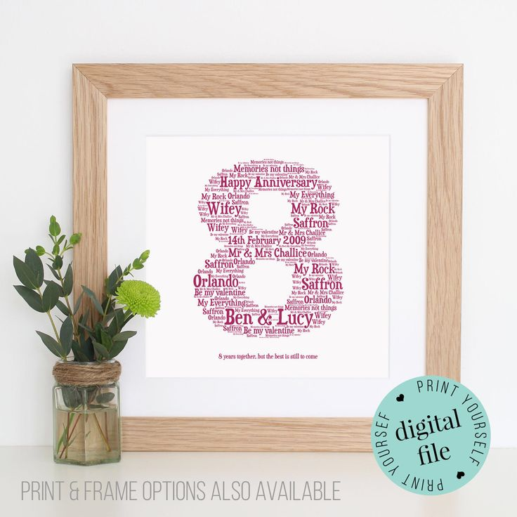 Wedding Gifts For 8th Anniversary : Anniversary - Unique Anniversary gift - 8th Wedding Anniversary Gift ...