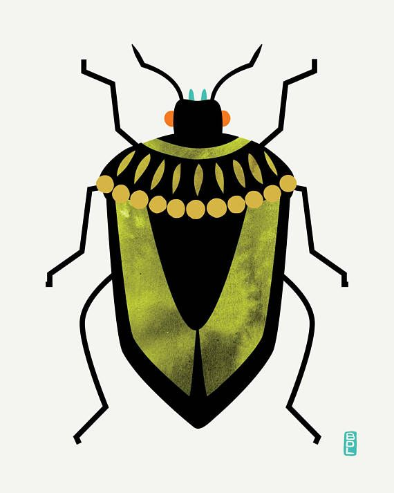 Shield Bug Fine Art Print - Available Colors: Olive Green, Blue  Colorful and bold shield bug illustration with watercolor and digital mixed media effects. Also known as a stink bug- this guy is stink free and cute!! These would look great paired (see my other bug or botanical