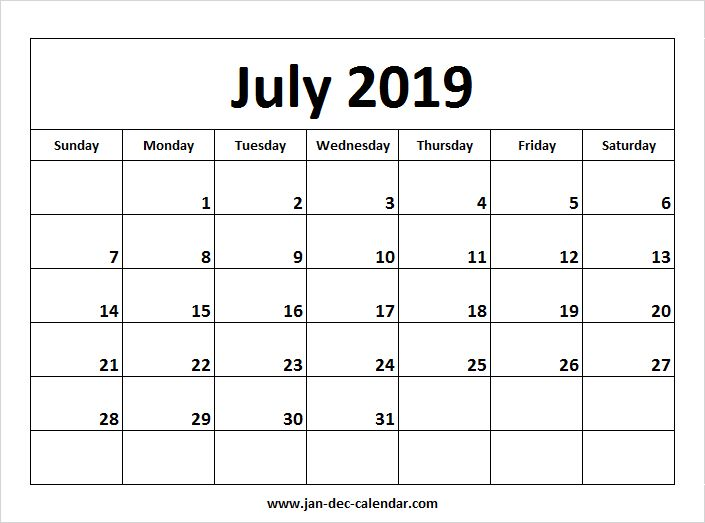 July 2019 Calendar | January-December Calendar | September ...