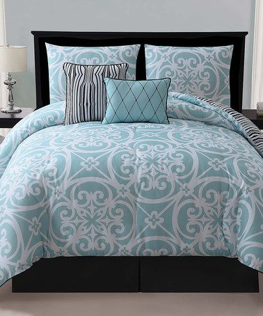 Take a look at this Blue Kennedy Reversible Comforter Set by Victoria Classics on #zulily today!