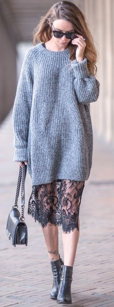 #fall #street #style | Grey Knit Dress + Lace Slip Dress