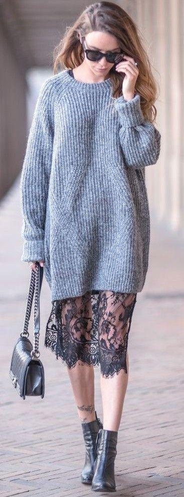 #fall #street #style | Grey Knit Dress + Lace Slip Dress Закон контраста, шерстяной пуловер и гипюровая юбка