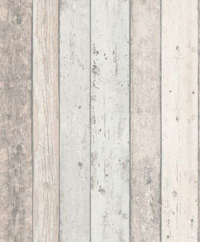 Wood panelling (8550-39) - Albany Wallpapers - A richly detailed Scandinavian panelled wood effect design - with the look of distressed and faded wood in pale natural colours.  Shown here with pale blue grey detail too. Please request sample for true colour match. Paste the wall.