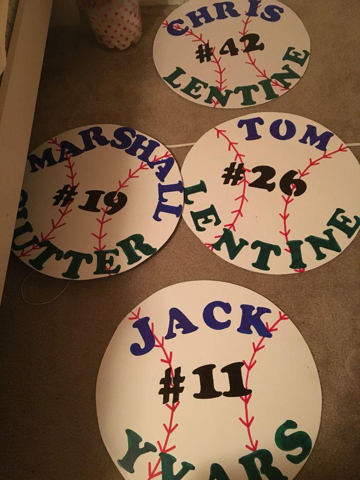#SeniorDay Baseball posters with name and number #AveMariaUniversity
