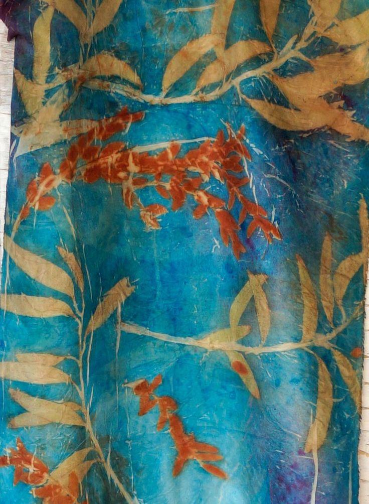 Ecoprint /mixed technique by Olga Kazanskaya Eucalyptus leaves