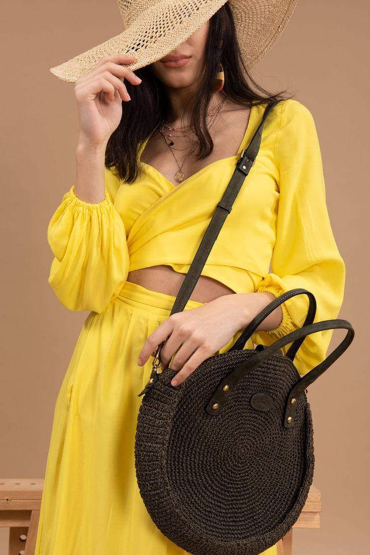 Crochet Round Bag Knit Circle Bag Stylish Round Womens Etsy
