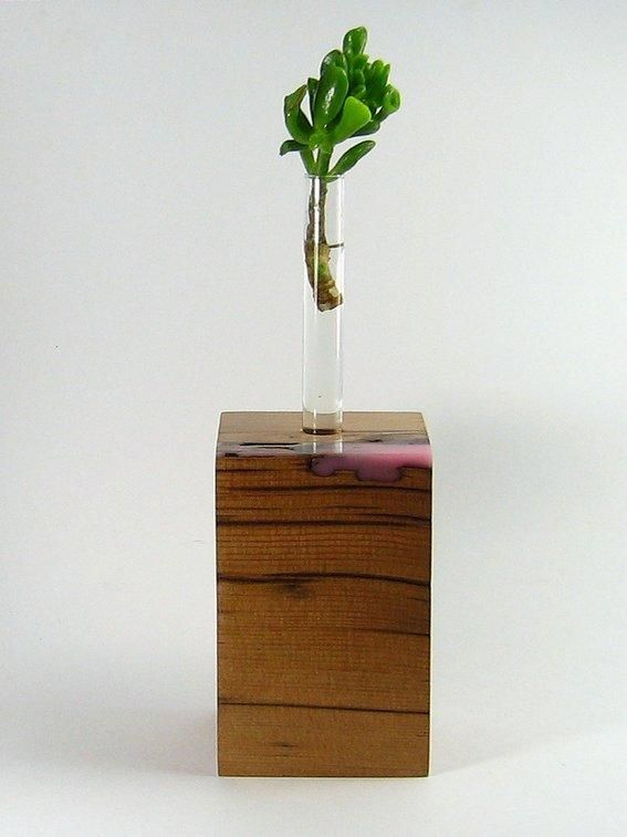 Reclaimed wood vase with resin and test tubes
