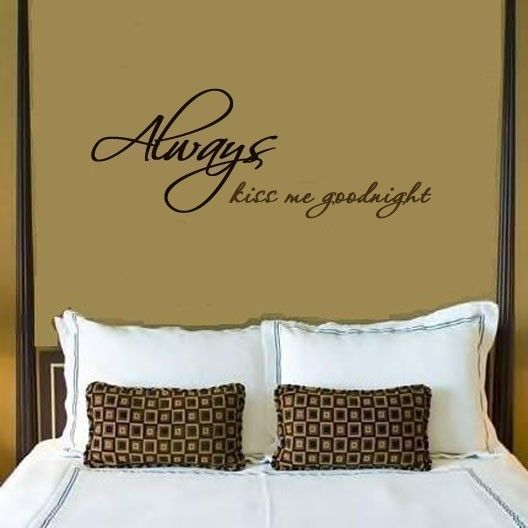 Always kiss me goodnight wall writing decal in choice of colors. $15.00, via Etsy.