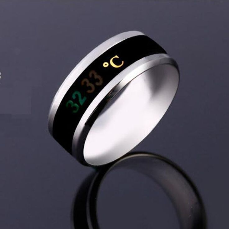 Creative Temperature Display Stainless Steel Couple Ring for Men Size 18