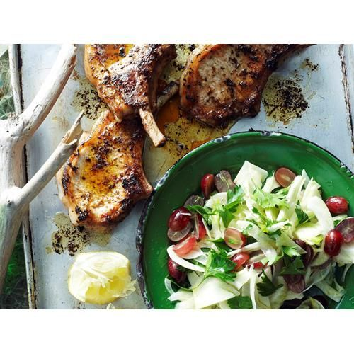 Fennel and grape salad with pork cutlets recipe.  #ModernAustralian #Salad #Herbs #Main