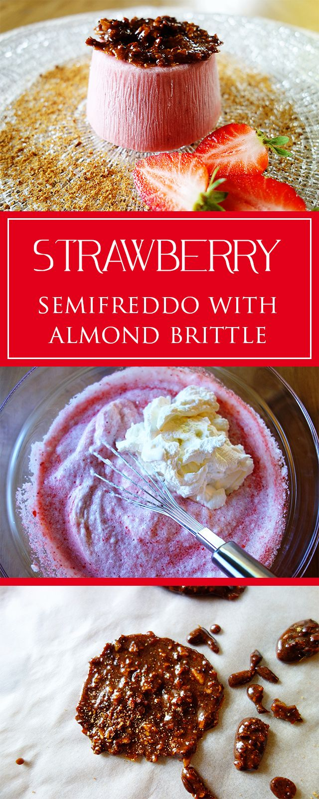 Strawberry-semifreddo with almond brittle - a perfectly refreshing & lovely strawberry-y recipe! Moreover simple & gluten-free 😋❤️🍓 | cucina-con-amore.com