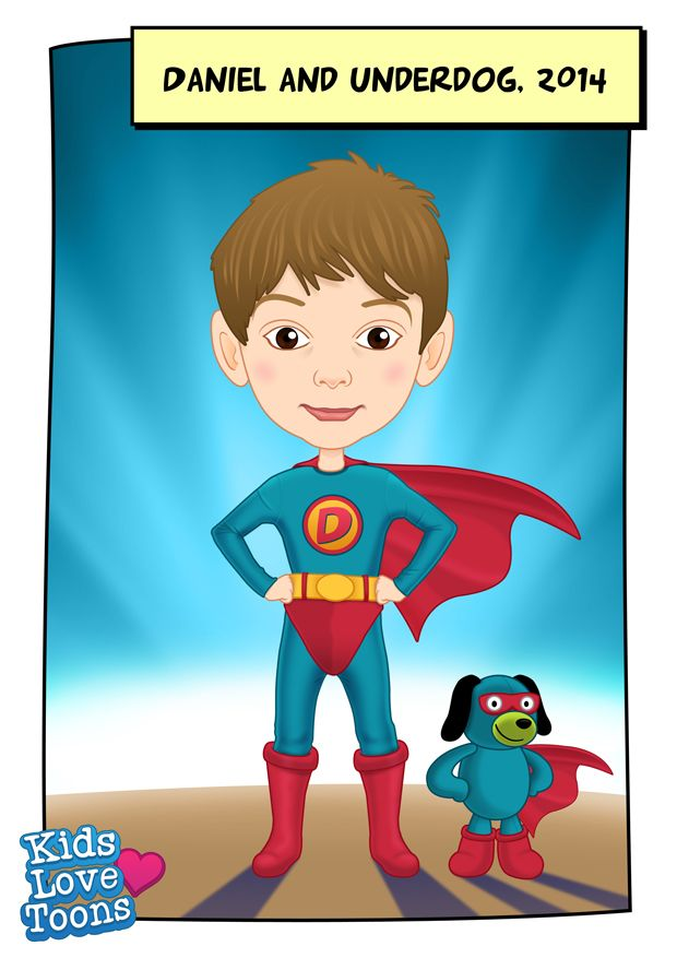 A custom made portrait of Daniel and his favourite toy Underdog :)  Custom made portrait of your child and their favourite toy is £55 - check out our Etsy store https://www.etsy.com/uk/listing/186212286/custom-kids-portrait-superhero-cartoon?ref=listing-shop-header-0