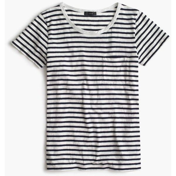 J.Crew Striped Pocket T-Shirt With Metallic Trim ($53) ❤ liked on Polyvore featuring tops, t-shirts, shirts, stripes, tops/outerwear, white t shirt, stripe t shirt, white stripes t shirt, striped t shirt and white cotton shirt