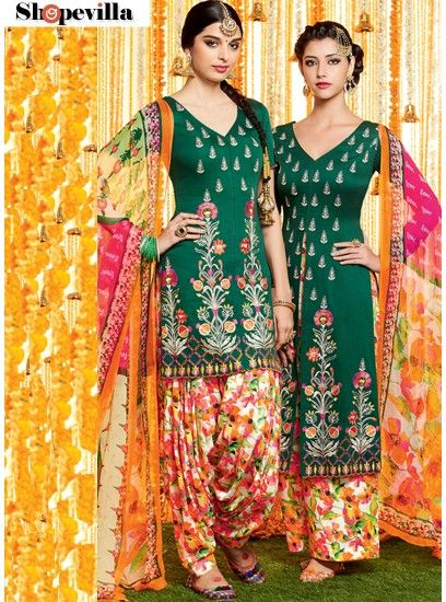 Beautifual Green Colour Pure Soft Cotton Patiala Dress Material-6606