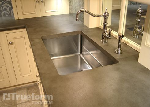 Traditional Brown Concrete Kitchen Countertop With Under