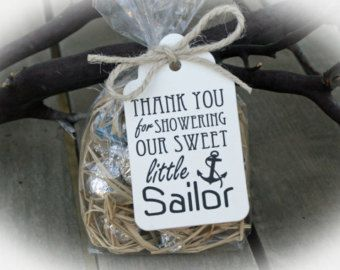 Nautical Baby Shower favor -25 DIY Bags/ Tags w/Ribbon - Candy Favors- Anchor Baby Shower DIY Kits- Little Sailor Baby Shower-Ivory Tags
