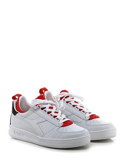 DIADORA Heritage - Sneakers - Uomo - Sneaker in pelle e tessuto tecnico elasticizzato con suola in gomma, tacco 35, platform 25 con battuta 10. - WHITE\RED - € 175.00
