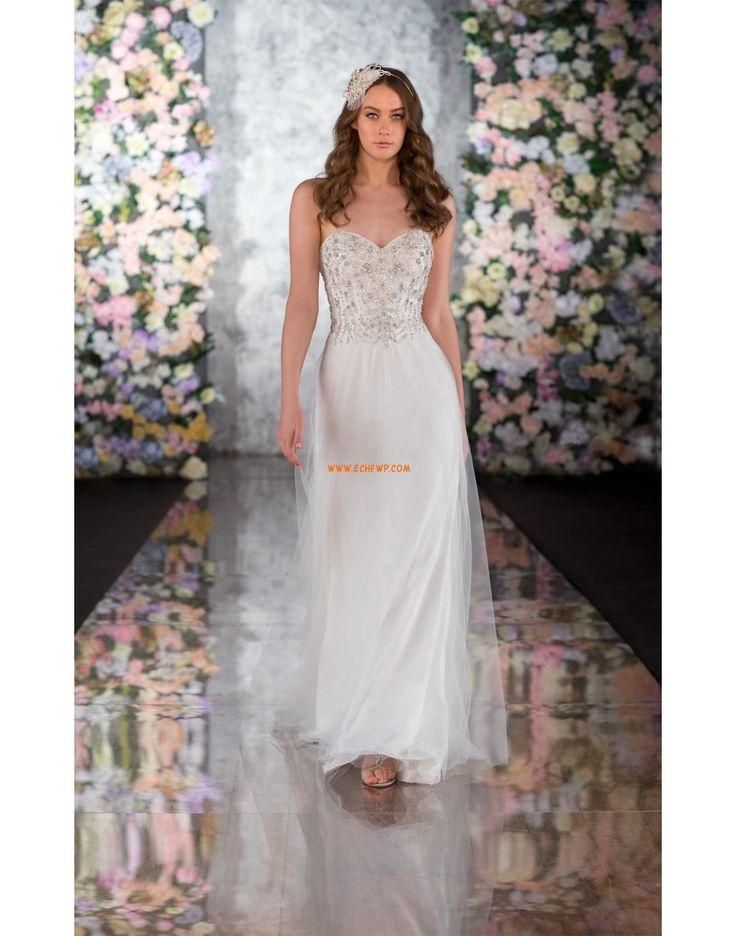 Léto Bez rukávů Přírodní Luxusní svatební šaty