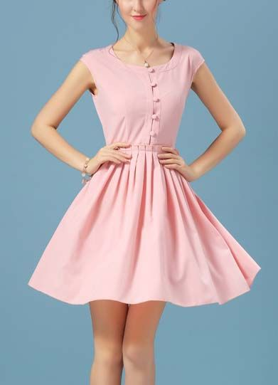 Pink With Buttons Vintage Chiffon Pleated Dress 19.33