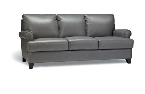 """The Brett Sofa boosts a slightly more traditional style, with gracefully curved arms and firm but comfortable cushions. See in-store for leather options. Dimensions36"""" x 38"""" x 81"""""""