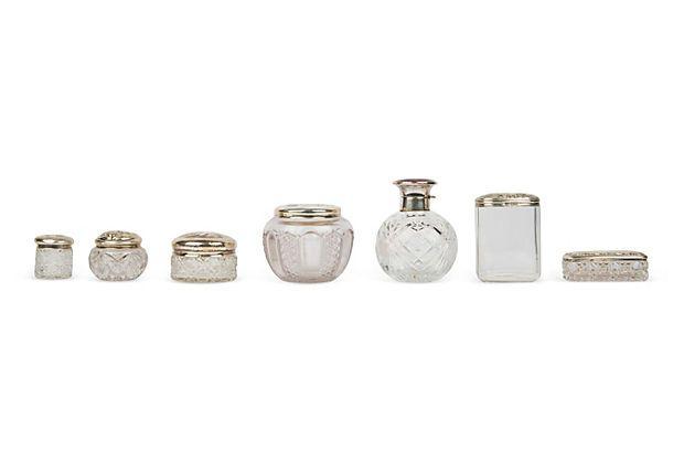 19th-C. Dressing Table Jars, Set of 7 on OneKingsLane.com
