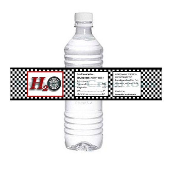 Race car theme Water bottle labels. Birthday by MoonGloCreations