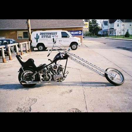 "Black Old School Harley Davidson Panhead in ""Extreme Rake ..."