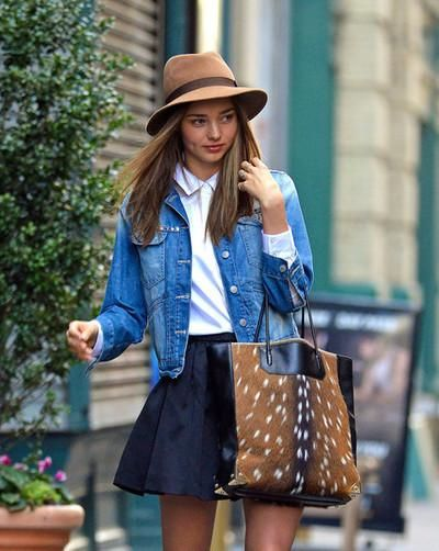 spring style! I love the tan sun hat, the denim jacket is so rustic along with the vintage white collared shirt and navy colored skirt! I hope the deer skin purse is faux