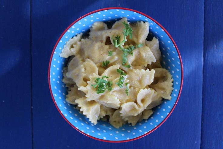 One of my favourite vegan creamy pasta sauces for the kids.  Cheesy Pasta Bows.