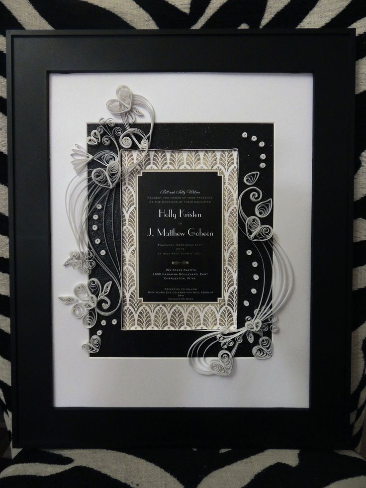 quilled wedding invitation keepsake was a gift for a couple married on new years eve it is a exquisite black gold and white piece of quilled art framed 14 - Framed Wedding Invitation
