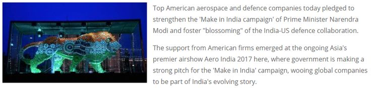 "Top American aerospace, defence firms support 'Make in India' ""The support from American firms emerged at the ongoing Asia's premier airshow Aero India 2017 here, where government is making a strong pitch for the 'Make in India' campaign, wooing global companies to be part of India's evolving story. Get Narendra Modi's & BJP's latest news and updates with - http://nm4.in/dnldapp http://www.narendramodi.in/downloadapp. Download Now."""