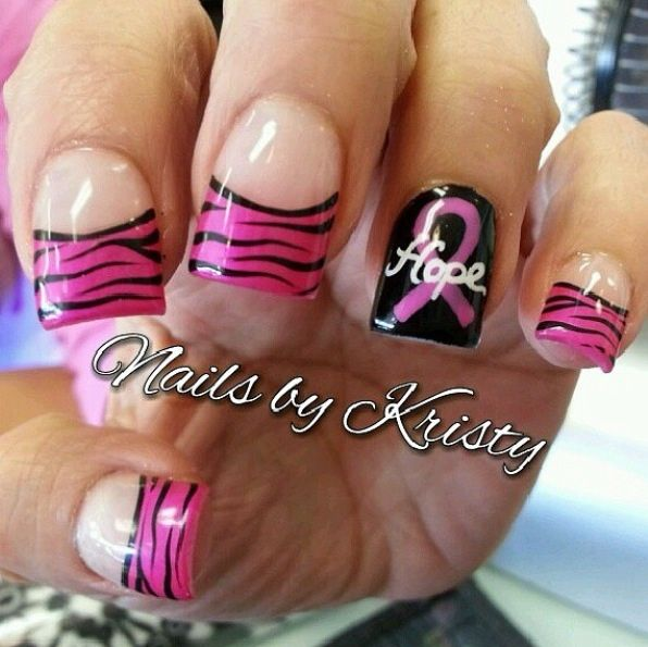 "Pink & Black zebra stripes with breast cancer awareness showing ""HOPE"" nail art work"