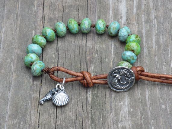 Boho Hippie Mermaid withSeashell and Seahorse Charm  Hand Knotted Czech Glass Picasso Turquoise Rondelle Beads Charm Leather Wrap Bracelet on Etsy, $43.00