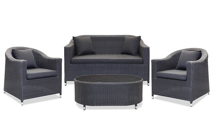High Country Sofa Setting Graphite Black - Our new High Country 4 Seater Outdoor Sofa setting in Graphite Black wicker, complete with a generous with coffee table sets new standards in outdoor luxury. You'll never want to come inside! This piece will add polish to your patio or poolside area. Imagine spending many, many hours relaxing with your friends, family - or just you and the papers - add a tray of scrambled eggs and a coffee pot and indulge in the perfect Sunday.  The generous…
