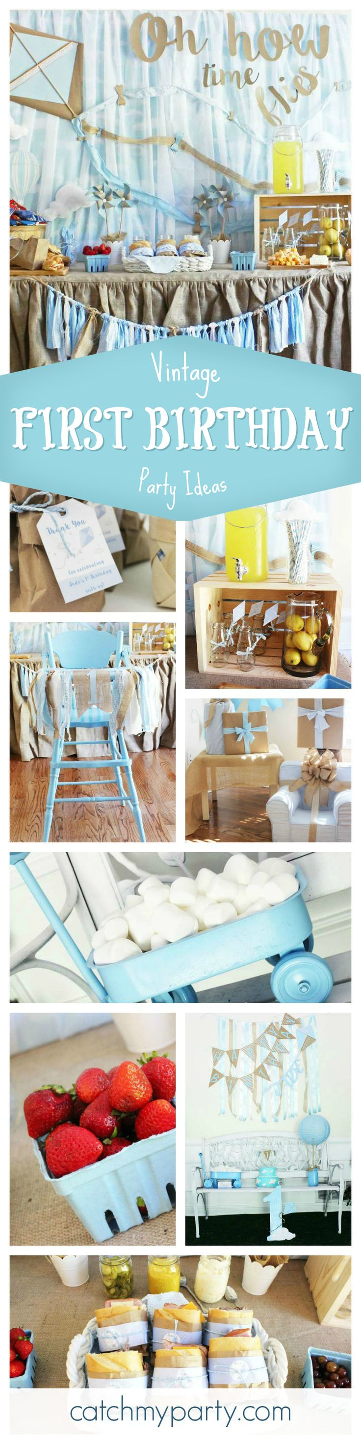 """""""Oh, how times flies"""" with this little boys Vintage Kite 1st Birthday party. You won't want to miss it! The drinks bar is just so cute! See more party ideas at CatchMyParty.com"""