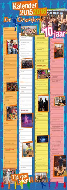 Schoolkalender voor Basisschool Noordeinde uit Zoetermeer 2015 - 2016 De Oranjerie