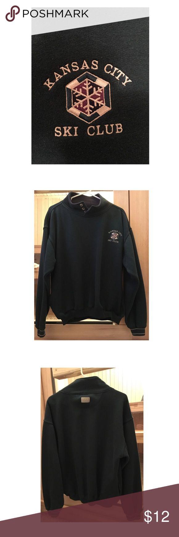 Kansas City Ski Club Sweatshirt Gear Kansas City Ski Club Sweatshirt in Loden Green with navy accents, Size Medium, 65% Polyester/35% Cotton, Excellent Condition Gear For Sports Other