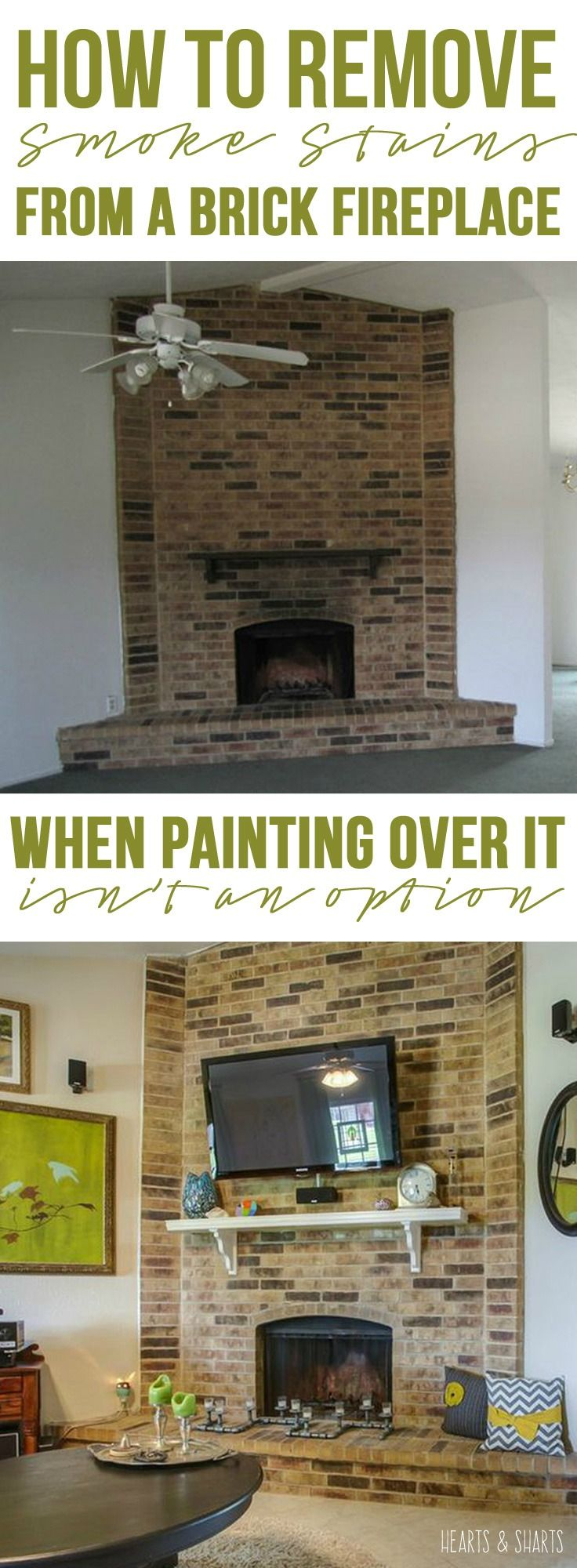 A cheap fix for smoke stains on a brick or stone fireplace surround using a product you already have in your kitchen | Hearts & Sharts | www.heartsandsharts.com